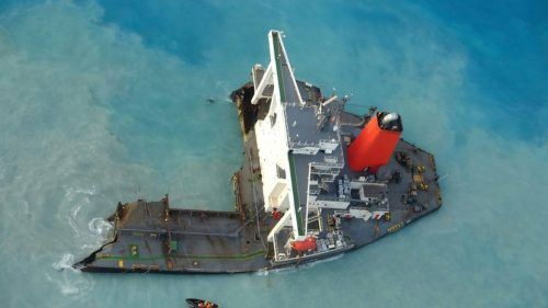"""Der havarierte Frachter """"Wakashio"""" hatte rund 4000 Tonnen Treibstoff an Bord. Rts"""