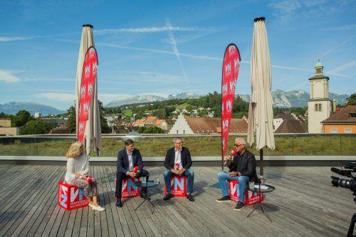 Die Bürgermeisterkandidaten Marlene Thalhammer, Daniel Allgäuer und Wolfgang Matt bei der VN-Diskussion. VN/Steurer