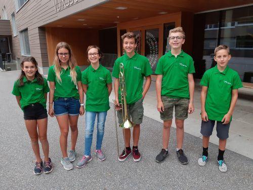 Die sechs Teilnehmer der Harmoniemusik Stallehr-Bings-Radin konnten sich beim Jungbläserseminar in Bürs musikalisch weiterbilden.sw