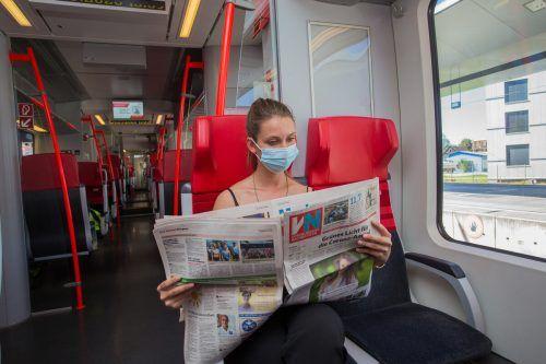 Die Maskendisziplin in öffentlichen Verkehrsmitteln ist gut, wer ohne Maske erwischt wird, muss 40 Euro berappen. vn/steurer