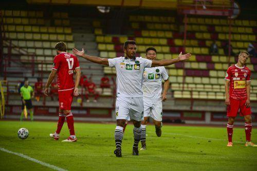 Diese Pose von Ronivaldo wurde in Lustenau zur Gewohnheit. Heute trifft er aber als Wacker-Stürmer auf seinen Ex-Klub. gepa