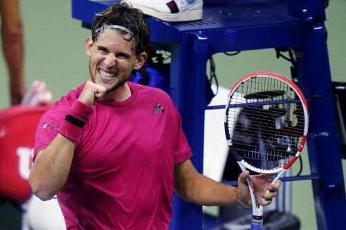 Dominic Thiem hatte nach seinem gewonnenen Viertelfinale gegen Alex de Minaur allen Grund zu grinsen.AP