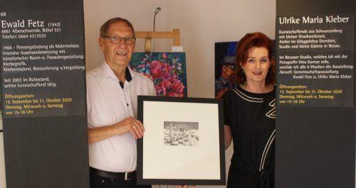 Eine Kombination von Tuschezeichnungen sowie Aquarell und Acryl haben Ulrike Maria Kleber und Ewald Fetz zur Ausstellung in Alberschwende zusammengefasst. stp