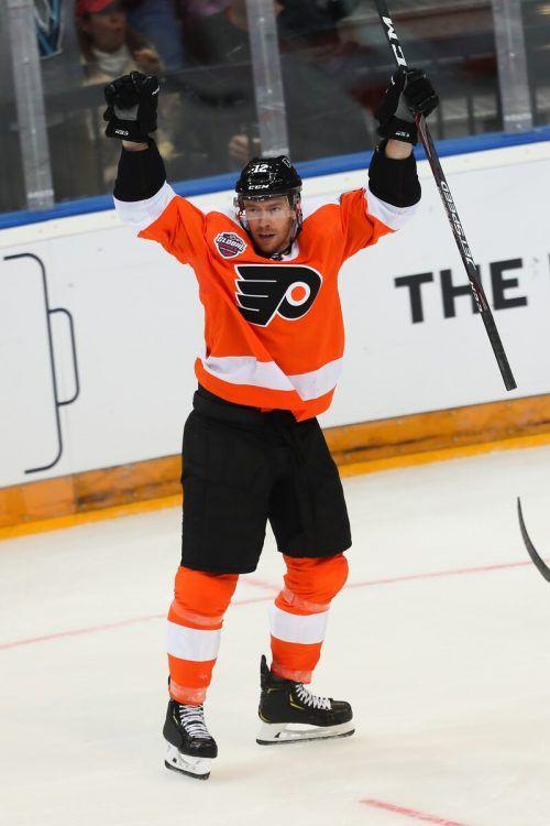 Flyers-Stürmer Michael Raffl zeigte im Play off der NHL auf. ap