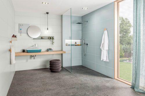Im Bad punkten Fliesen mit ihrer hygienischen Oberfläche und gelten als pflegeleicht.epr/Eurobaustoff/V & B Fliesen GmbH