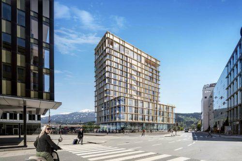 In unmittelbarer Nähe zum Innsbrucker Hauptbahnhof entsteht das 13-stöckige PEMA-Objekt. Wenige Monate nach Baubeginn ist die gesamte Nutzfläche vermietet. pema