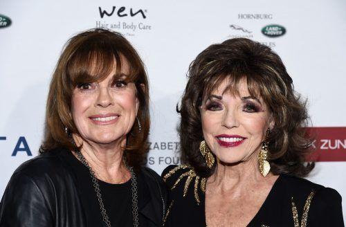 Linda Gray mit Schauspielkollegin Joan Collins im Jahr 2019. afp