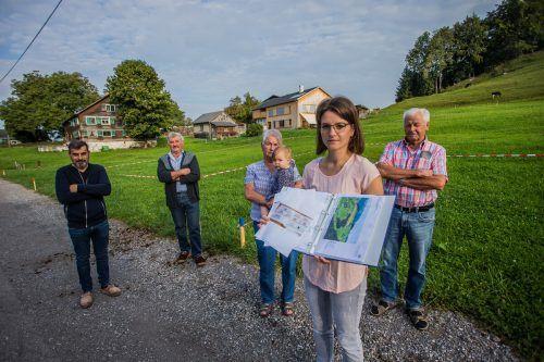 Machen ihrem Ärger Luft: Christine Stöckler (vorne), Kasper und Rosina Stöckler, Konrad Nußbaumer und Bertram Bader (v.r.).VN/PS