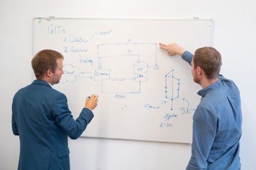 Markus Preißinger, Leiter des neuen Josef Ressel Zentrums, und Doktorand Gleb Prokhorskii diskutieren die nächsten Schritte im Projekt.fhv