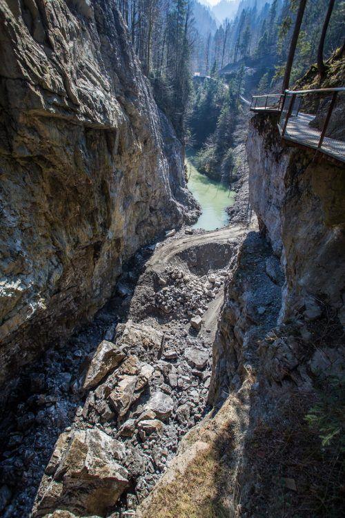 Nach dem Felssturz im März musste die Pionierbrücke abgebrochen werden, nun kommt ein Neubau.VN-Steurer