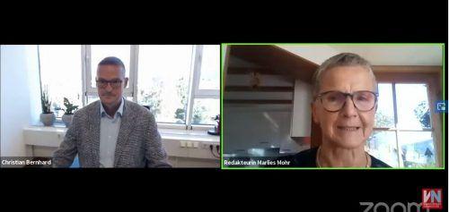 Redakteurin Marlies Mohr im Gespräch mit Mediziner Christian Bernhard beim VN-Webinar.