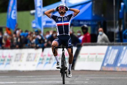 Solo zum Weltmeistertitel: Julian Alaphilippe triumphiert im Straßenrennen.apa