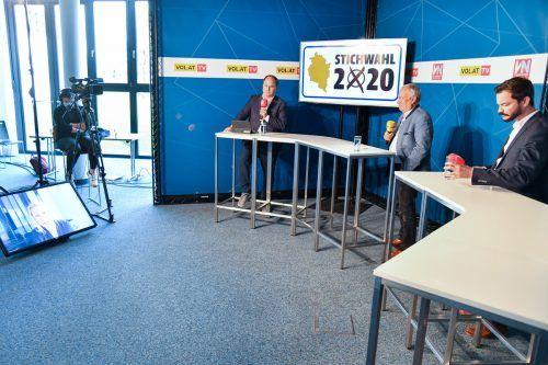 Stainer-Hämmerle wurde per Video in das Wahlstudio zu Moderator Gerold Riedmann (VN) zugeschaltet.