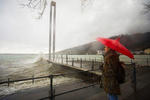 """Tief """"Sabine"""" stürmte im Februar im Bregenzer Hafen. VN/Paulitsch"""