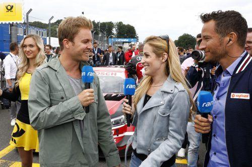 Timo Scheider (r.) arbeitet als TV-Experte, im Bild mit Andrea Kaiser und Nico Rosberg.@ITR