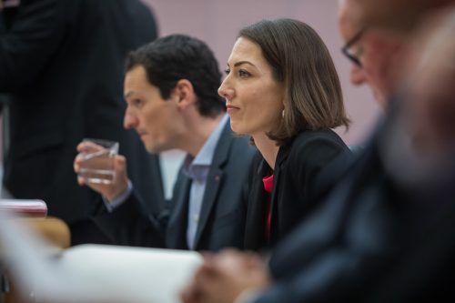 Veronika Marte auf der Abgeordnetenbank im Landtag. Die 38-Jährige ist eine der Kandidatinnen für den Chefsessel der Bregenzer ÖVP.