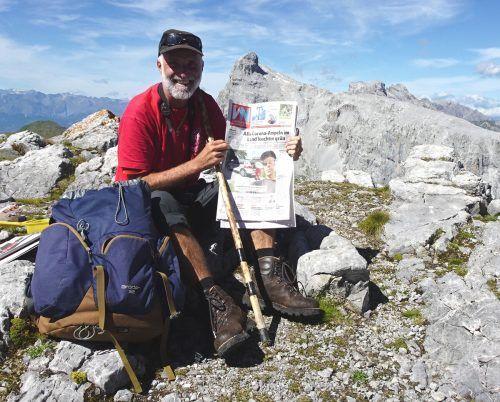 Walter Zudrell schickt ein Zjucheee von der Weißplatte (2630 m) im Rätikon.