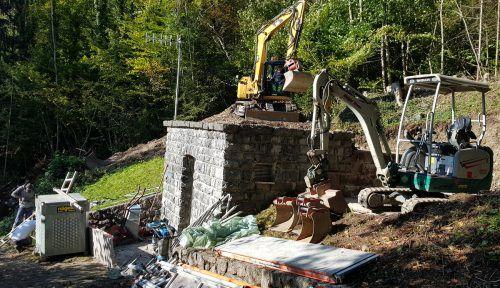 Beim Hochbehälter Halde finden derzeit Sanierungsarbeiten statt. Stadt