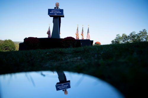 """Der US-Präsidentschaftskandidat Joe Biden spricht in Gettysburg von """"Mächten der Finsternis"""", die das Land gespalten hätten. AFP"""