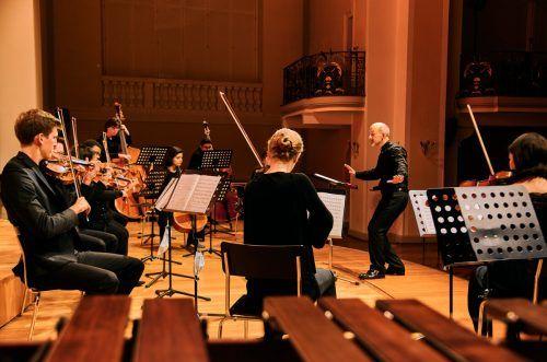 Die zehn Streicher vom Ensemble PulsArt bemühen sich nach Kräften um eine engagierte Umsetzung. Victor Marin