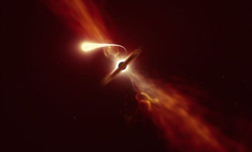 Ein Stern wurde von einem supermassereichen Schwarzen Loch verschlungen.