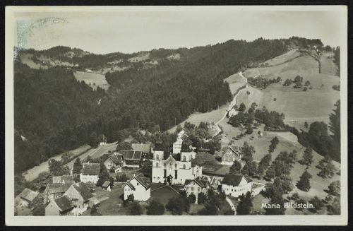 Eine Aufnahme des historischen Ortskerns von Bildstein aus dem Jahr 1930.Gemeinde