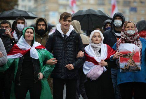 Es kam erneut zu Massenprotesten gegen Staatschef Lukaschenko.reuters