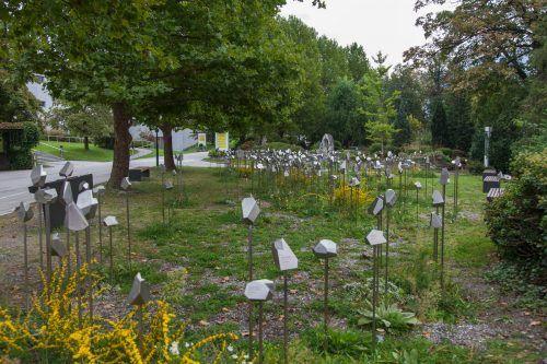 Insgesamt 360 Stelen erinnern beim LKH Hall an die Euthanasie-Opfer der NS-Zeit, eine davon an die Nenzingerin Anna Kessler.EM