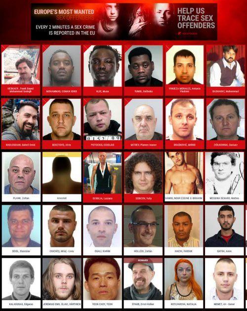Jetzt ruft Europol die Bürger zur Mithilfe auf und veröffentlicht Steckbriefe der Sexualverbrecher. Screenshot Europpol