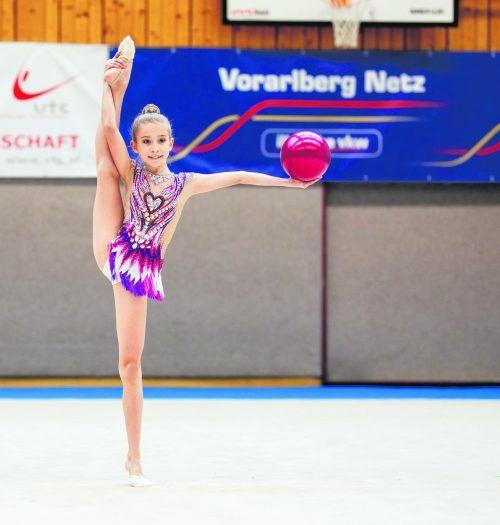 Jugend-2-Landesmeisterin Melina Märk von der Turnerschaft Röthis ist eine der sieben bei den ÖFT-Titelkämpfen gemeldete VTS-Gymnastin. VTS/Pichler