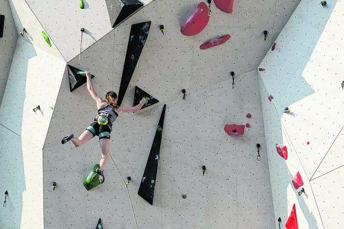 Lea Kempf (6. Platz) im Lead-Bewerb, European Youth Championships Augsburg.KVV