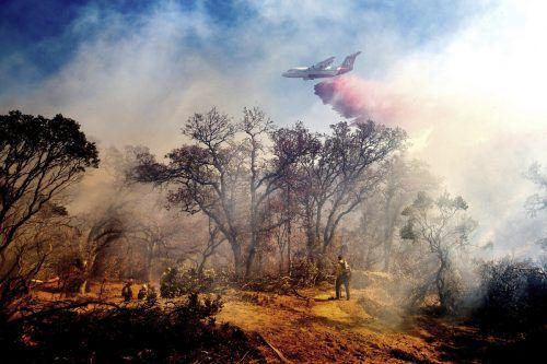 Löschflugzeuge setzen die Feuerwehrleute im Kampf gegen verheerende Waldbrände im Norden Kaliforniens in den USA ein. AP