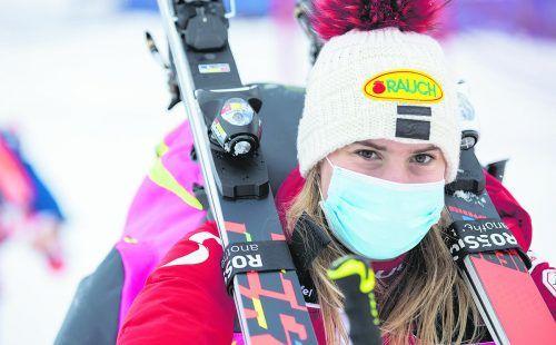 Nach dem Materialkonflikt im vergangenen Jahr ist Katharina Liensberger heuer beim Saisonstart in Sölden wieder dabei.gepa