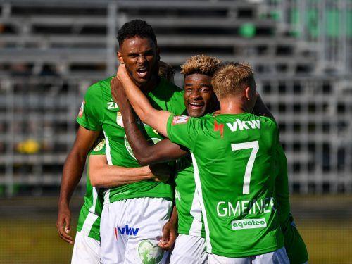 Beim 4:0-Heimsieg im Oktober hatten Till Cissokho, Brandon Baiye und Co. viel zu jubeln. Heute will man in Oberösterreich auch wieder zuschlagen.gepa