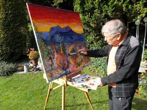 Selten sind sie noch zu sehen, die Maler an ihrer Staffelei im Herbst wie der akademische Maler Prof. Gerhard Winkler.bet