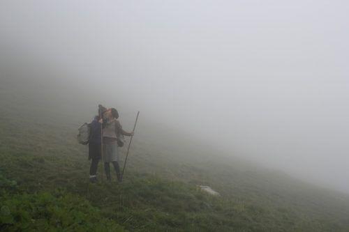 Szene aus einer Theaterwanderung von Caprile im Montafon. Lorenzi