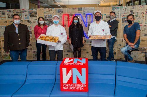 Trotz Corona und Masken (beim Besuch der VN-Redaktion) erfüllten die Vorarlberger Bäcker ihren Versorgungsauftrag und läuten die Brotwoche ein.VN/Steurer