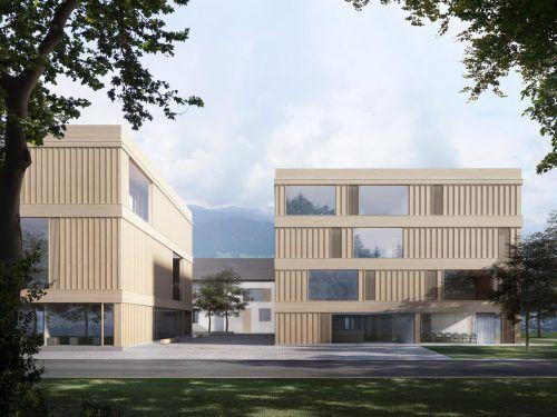 Vom ehemaligen Schulkomplex bleibt nur der Mittelschulteil erhalten, die restlichen Gebäudeteile werden abgetragen und durch zwei neue freigestellte Häuser ergänzt. Architekt Matthias Bär