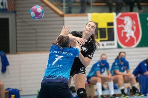 Beatrix Kerestely spielte eine überragende Partie und war mit ihren sieben Toren die Garantin für den Überraschungssieg des SSV Dornbirn in Feldkirch.stiplovsek