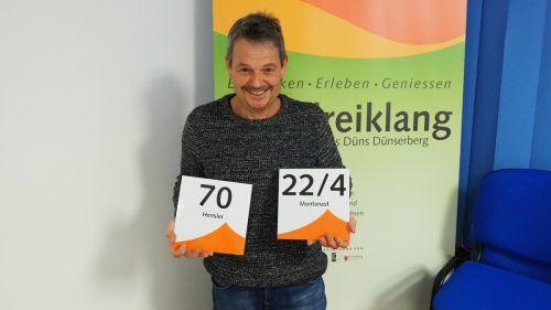 Bürgermeister Walter Rauch präsentiert die neuen Hausnummernschilder. Egle