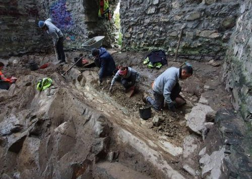 Die Archäologen bei der Arbeit auf der Burganlage Neu-Montfort. Mäser