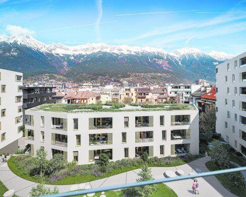 """Das moderne Stadtteilquartier """"Stadt Carré"""" entsteht in Innbruck-Wilten.zima wohnbau"""