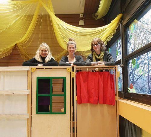 Das Team der Spielgruppe Fellengatter: Helene Gädeke, Leiterin Marlene Burtscher und Janine Burtscher. Spielgruppe Fellengatter