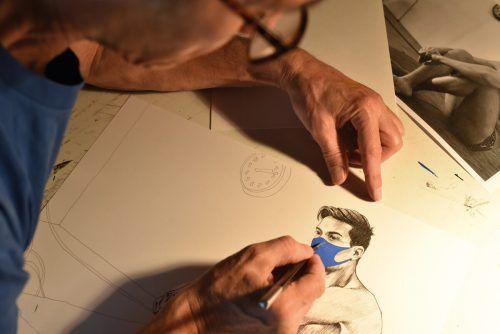 Der bekannte Vorarlberger Künstler Edgar Leissing hat seine Quarantäneserie wieder aufgenommen und entwickelt sie kreativ weiter. hennessey