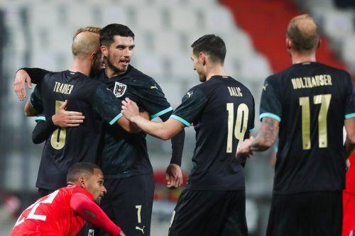 Der ehemalige Altach-Kicker Adrian Grbic (2.v.l) brachte nach seiner Einwechslung viel Schwung ins ÖFB-Team und erzielte seinen zweiten Treffer für die Nationalmannschaft.gepa