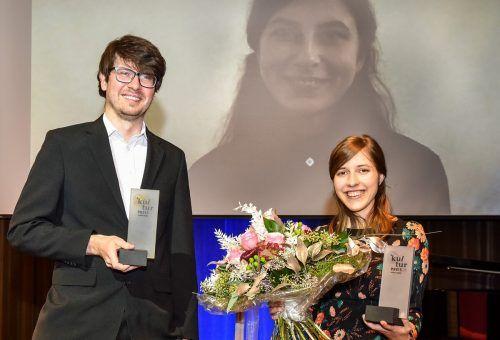 Die Preisträger Amos Postner, Katharina Klein (via Videozuschaltung) und Sarah Rinderer. Mittelberger