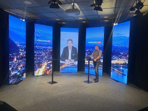 """Für das Interview bei """"Vorarlberg live"""" wurde Mahrer ins Studio nach Schwarzach zugeschaltet."""