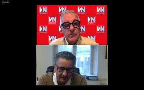 Gert Mayer (u.) stellte sich im VN-Gespräch über Zoom den Fragen von VN-Redakteur Tony Walser. VN