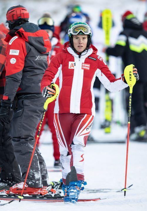 Hangbefahrung in Levi: Katharina Liensberger bereitet sich auf die Slaloms vor.Gepa