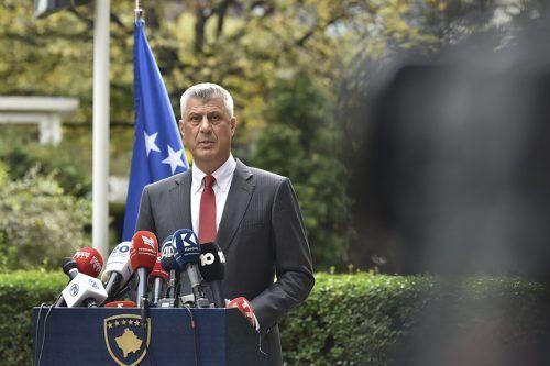 """""""Ich werde nicht als Präsident vor Gericht erscheinen"""", erklärte Thaci bei der Pressekonferenz in Prishtina. AP"""